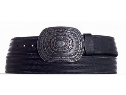Černý kožený pásek aztec pr