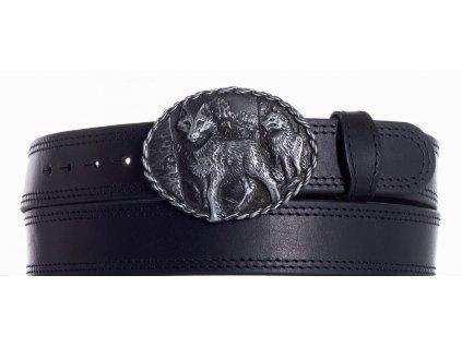 Černý kožený pásek vlci ob2č