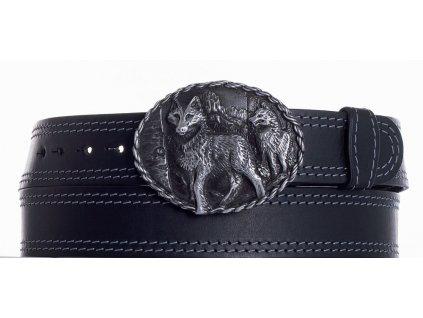 Černý kožený pásek vlci ob2š