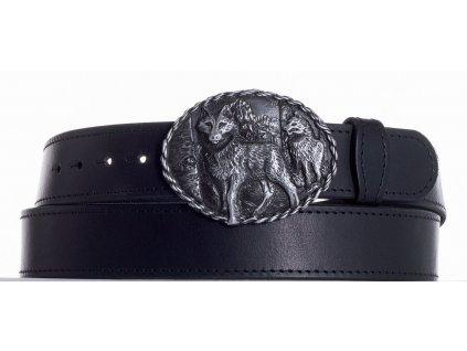 Černý kožený pásek vlci obč