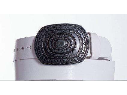 Bílý kožený opasek aztec