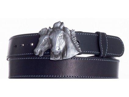 černý kožený pásek koně obš