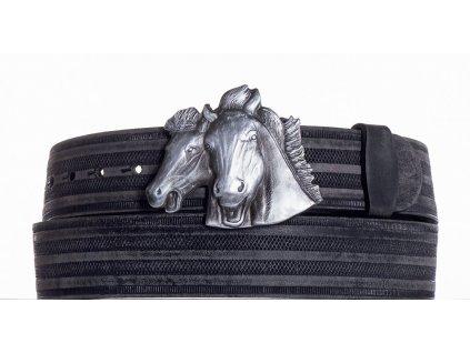 černý kožený pásek koně prb