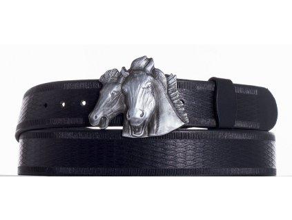 černý kožený pásek koně vr