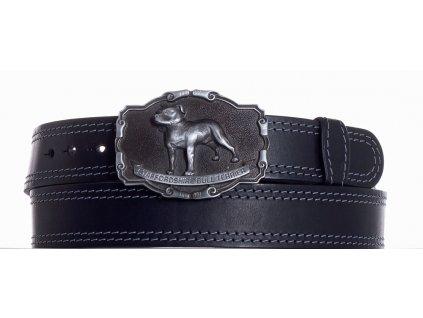černý kožený pásek staf ob2š