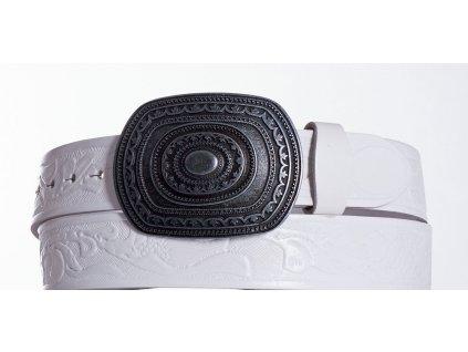Bílý kožený opasek aztec vzor