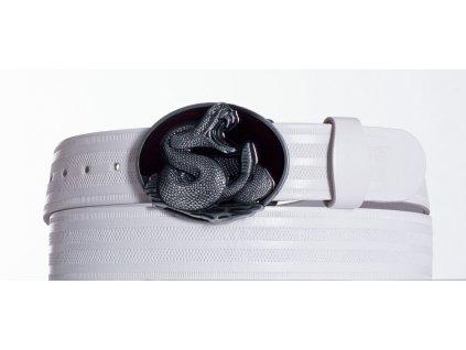 Bílý kožený opasek cobra pr