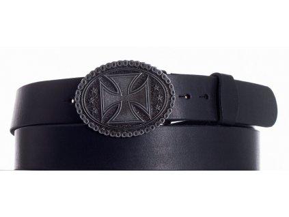 Černý opasek kožený kříž