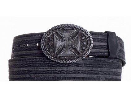 Černý opasek kožený kříž prb