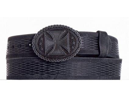 Černý opasek kožený kříž vrb