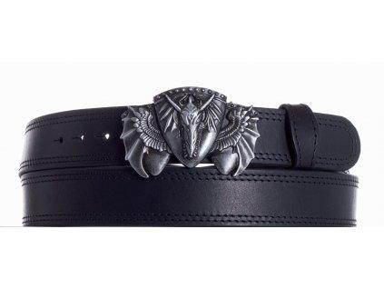 Černý kožený pásek drak ob2č