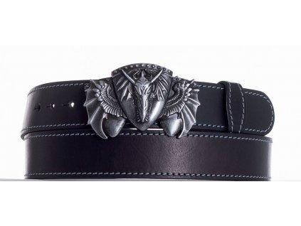 Černý kožený pásek drak obš