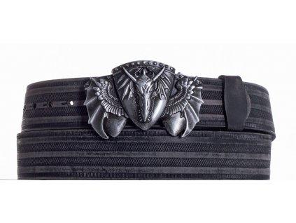 Černý kožený pásek drak prb