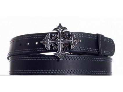 Černý kožený pásek kříž ob2š