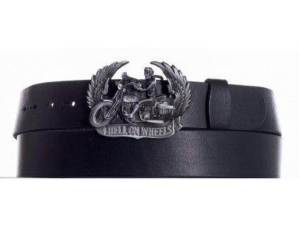 Černý kožený pásek motorkář
