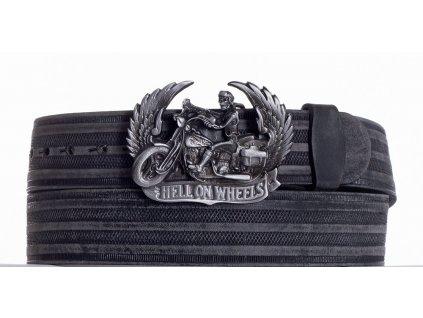 Černý kožený pásek motorkář prb