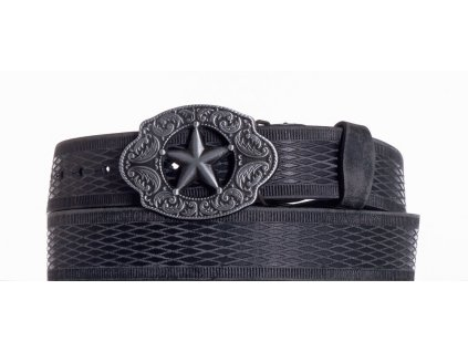 Černý kožený opasek hvězda vrb