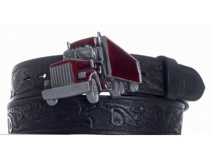 Pásek černý kožený kamion vz