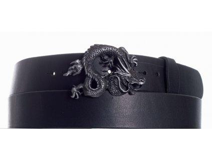 Pásek černý kožený drak