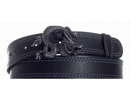 Pásek černý kožený drak 2obš