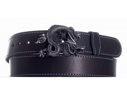 Pásek černý kožený drak obš