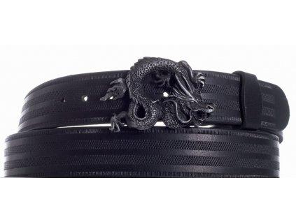 Pásek černý kožený drak pr
