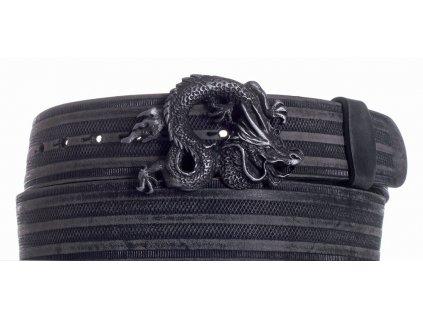 Pásek černý kožený drak prb