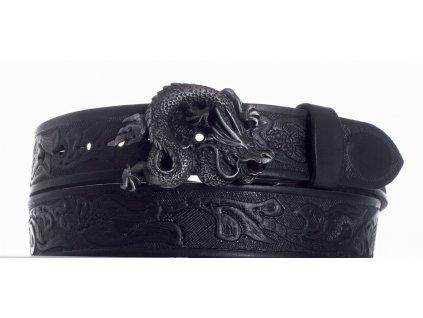 Pásek černý kožený drak vz