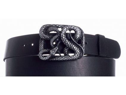 Pásek černý kožený had