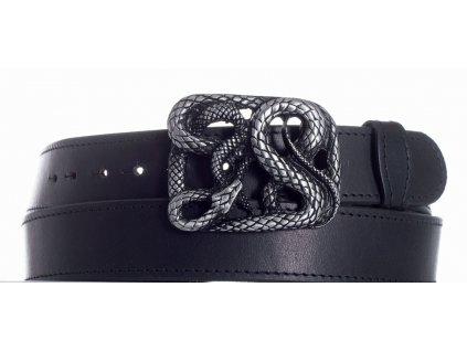 Pásek černý kožený had obč