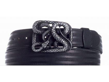 Pásek černý kožený had pr