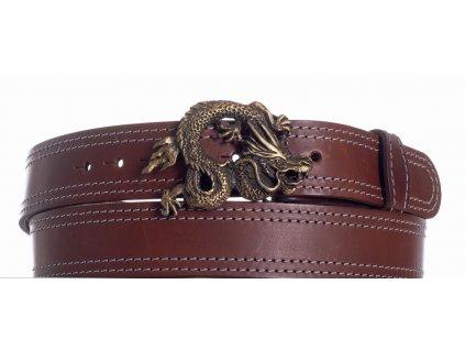 Hnědý kožený pásek drak ob2