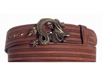 Hnědý kožený pásek drak prb