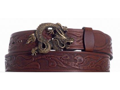 Hnědý kožený pásek drak vz
