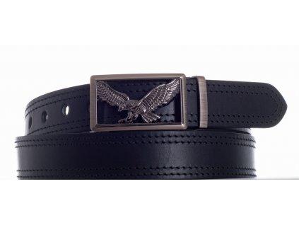 černý kožený pásek orel 2čob