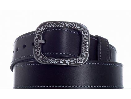 černý kožený pásek 69 ob