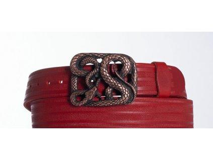 červený kožený opasek had pr