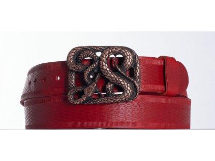 červený kožený opasek had vr