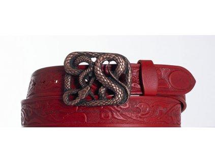červený kožený opasek had vz