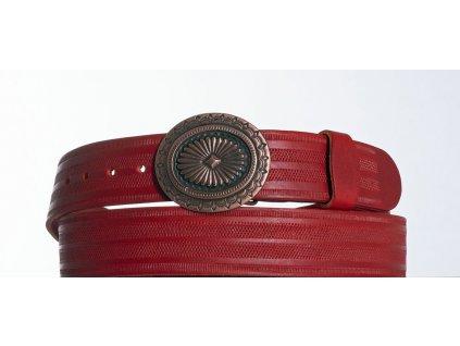 červený kožený opasek ovál pr