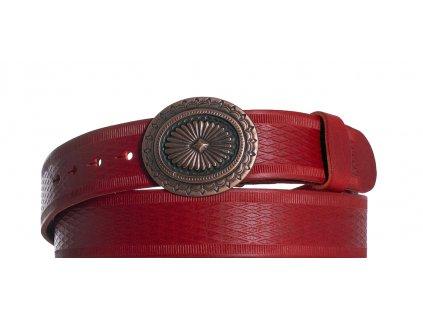 červený kožený opasek ovál vr