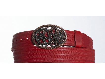 červený kožený opasek růže pr