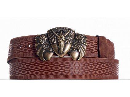 Hnědý kožený pásek drak vrb