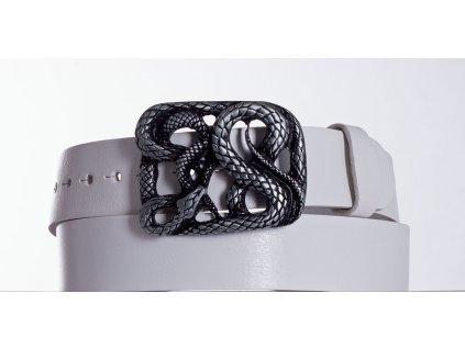 Bílý kožený opasek had