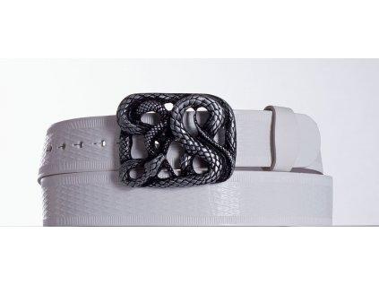 Bílý kožený opasek had vr