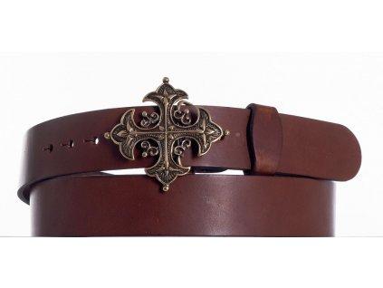 Opasek kožený hnědý kříž