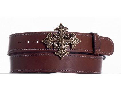 Opasek kožený hnědý kříž ob