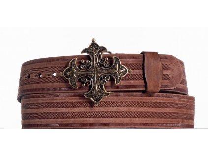 Opasek kožený hnědý kříž prb