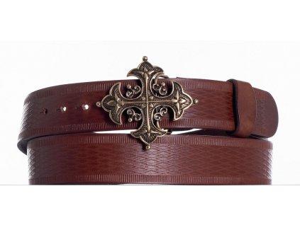 Opasek kožený hnědý kříž vr