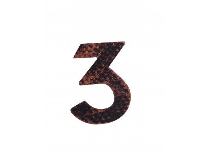 """Kovaná číslica """"3"""" meď"""